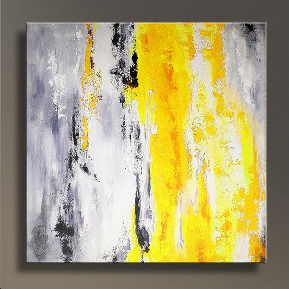 Large Abstract Painting On Canvas Contemporary ABSTRACT Yellow Gray Modern  Art Wall Decor For Your Home  Made To Order