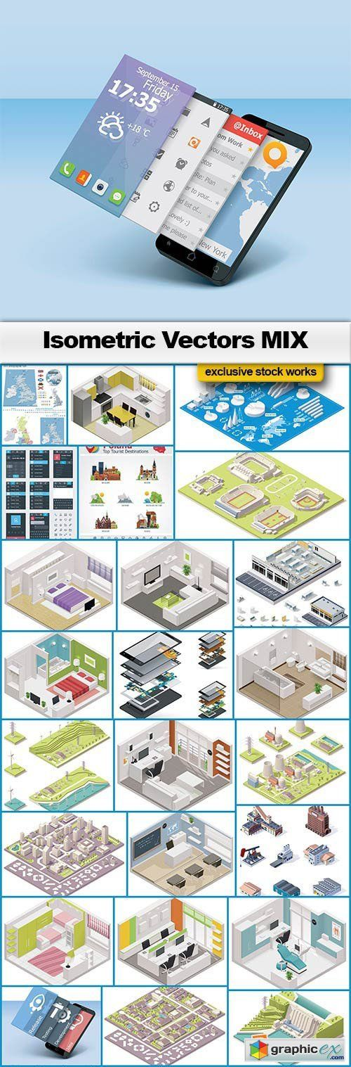 Isometric vector mix 25xeps isometric interior design pinterest isometric vector mix 25xeps gumiabroncs Images