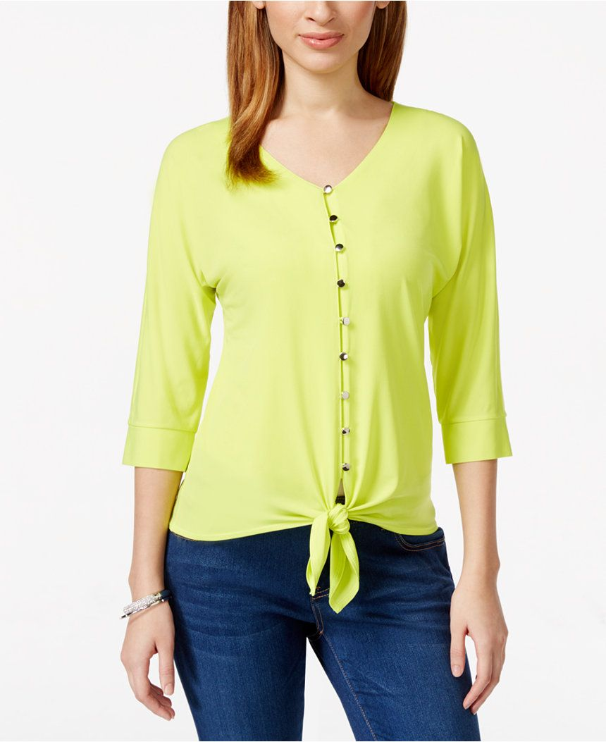 4aa1b6e09 NY Collection Petite Dolman-Sleeve Tie-Front Top - Tops - Women - Macy's
