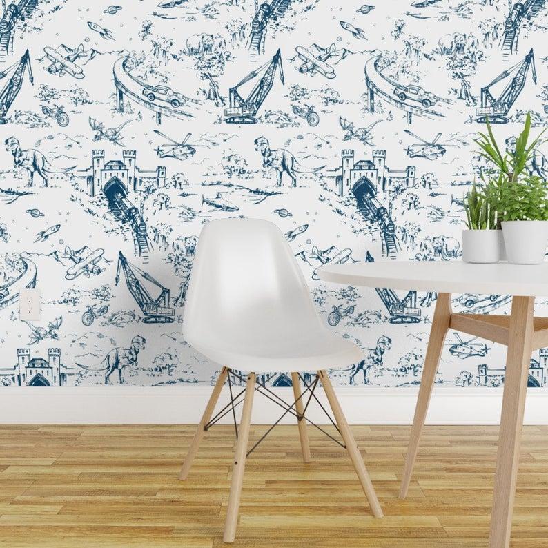 Dino Toile Wallpaper Adventure Toile Indigo By Pattern State Etsy Toile Wallpaper Removable Wallpaper Quick Decor