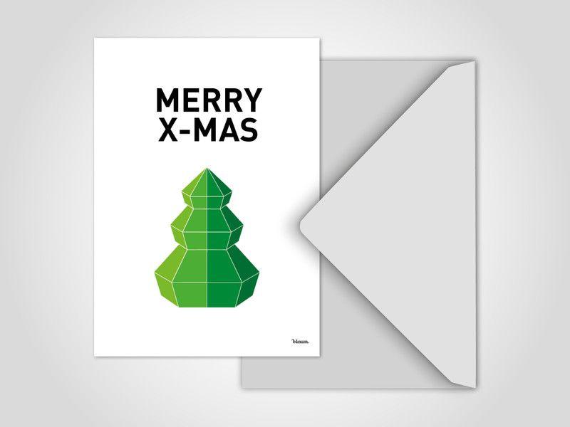4 x Weihnachtskarten / Merry X-MAS No.2, Grußkarte