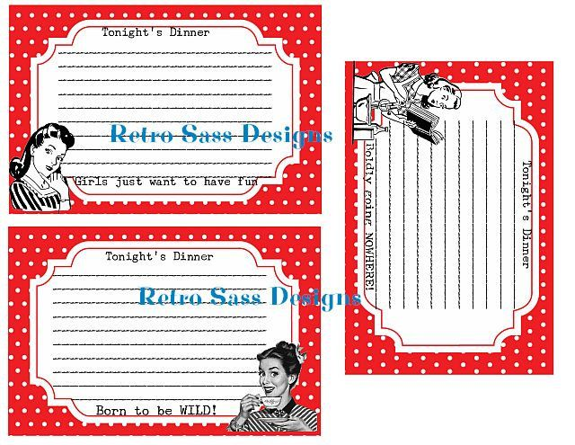 RETRO inspired recipe cards RED polka dots SET of 3-spring party favors-girls night out-bridal favors by RetroSassDesigns on Etsy