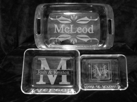 6 piece ETCHED PYREX glass bake and store set by
