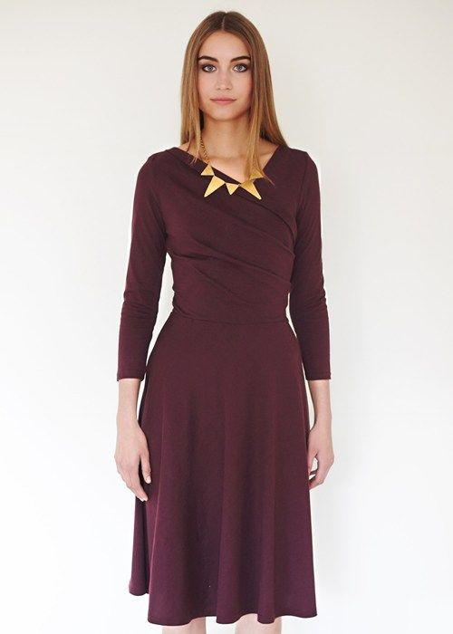 Tilly Wrap Over Dress in Bordeaux. Flared jersey dress in certified 100% Fairtrade certified organic cotton. By People Tree, a UK-based fair trade pioneer that promises beautiful changes in the world.