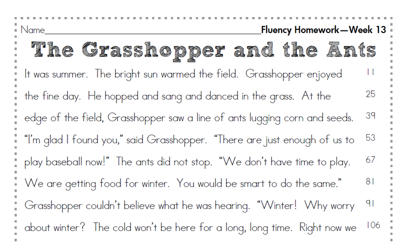2nd Grade Fluency Homework | Second grade writing, Reading ...