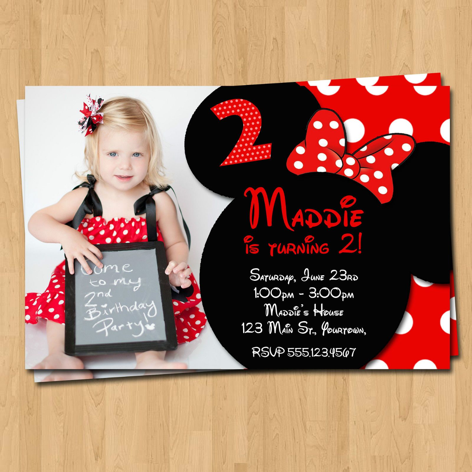 Get Free Printable Minnie Mouse Birthday Party Invitations | Free ...
