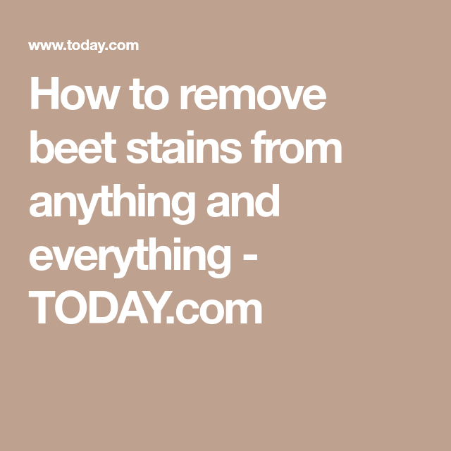 How To Get Beet Juice Out Of White Shirt