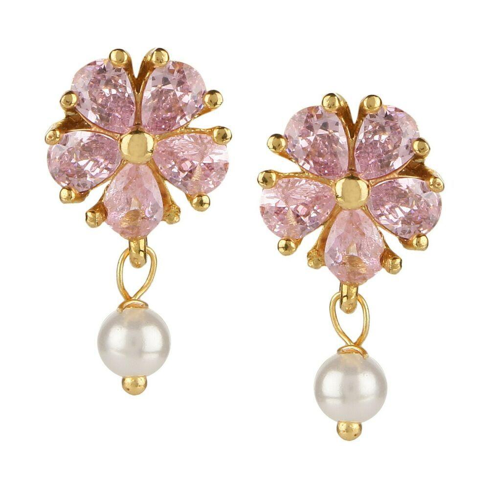 Efulgenz Stud Earrings 14 K Gold Plated Hypoallergenic Cubic Zirconia Floral Pearl Drop Studs Pierced