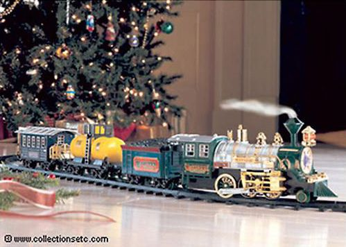 Toy Train Set Under The Christmas Tree