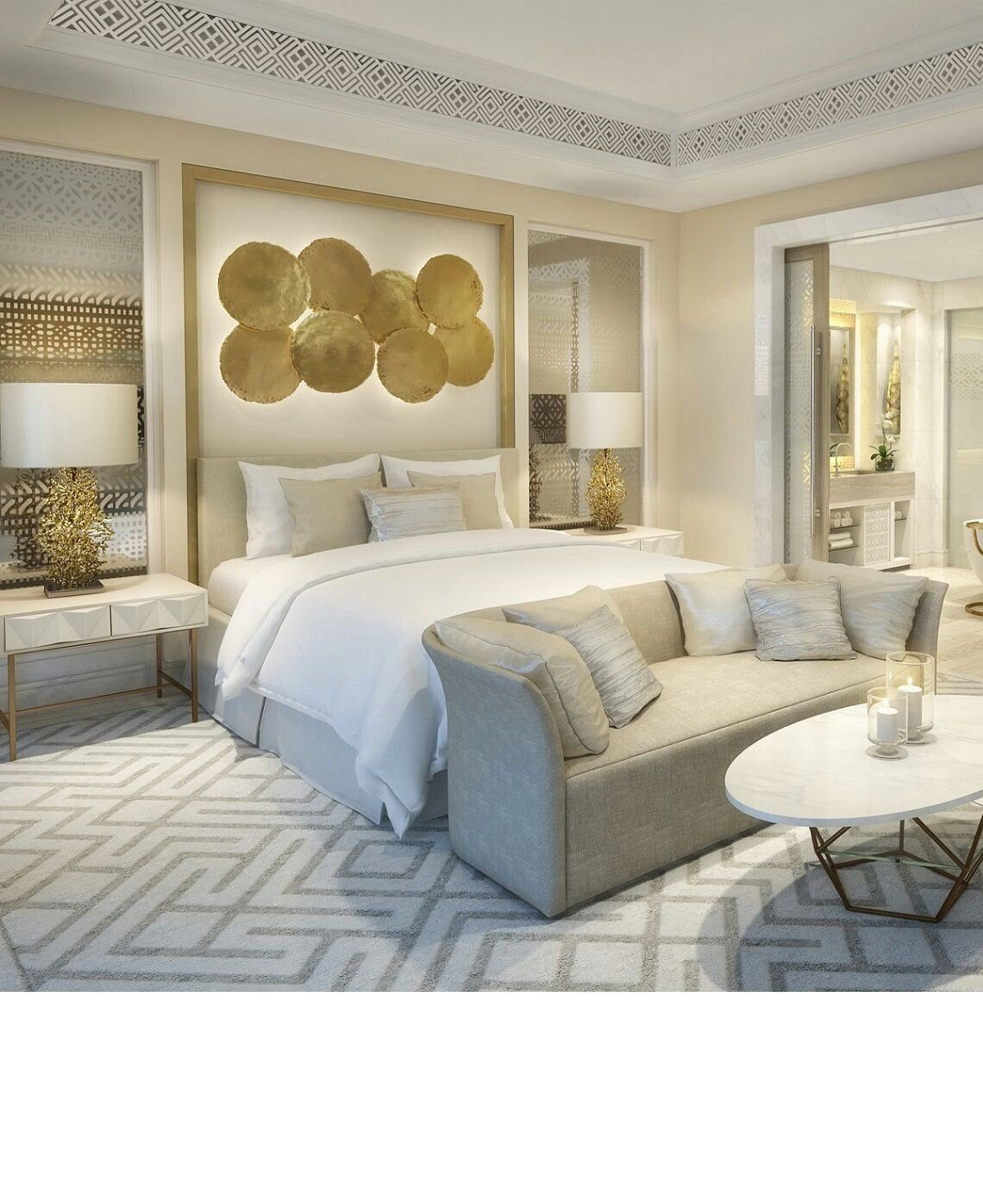 master bedroom pattern and gold accents