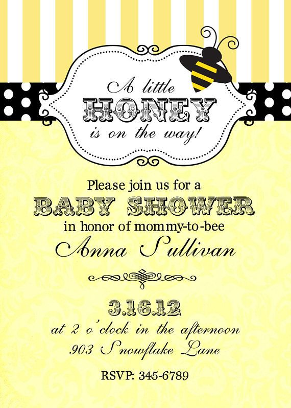 12 Bee Bumblebee Baby Shower invitations with envelopes Custom