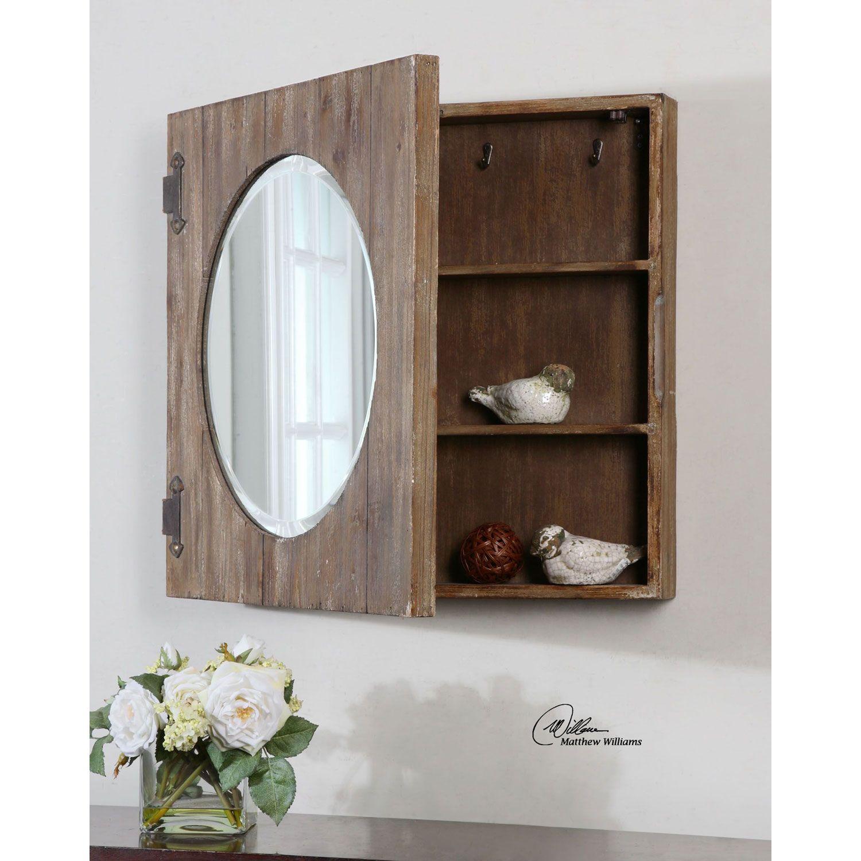 Gualdo Aged Wood Mirror Cabinet Uttermost Square Mirrors Home