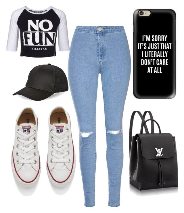 """""""No Fun!"""" by alipp on Polyvore featuring Converse, Glamorous, Killstar, BCBGeneration and Casetify"""