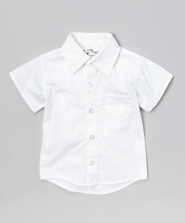 This White Short-Sleeve Button-Up - Infant, Toddler & Boys is perfect! #zulilyfinds