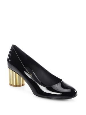 0fd187906246 SALVATORE FERRAGAMO Lucca Patent Leather Flower Heel Pumps.   salvatoreferragamo  shoes