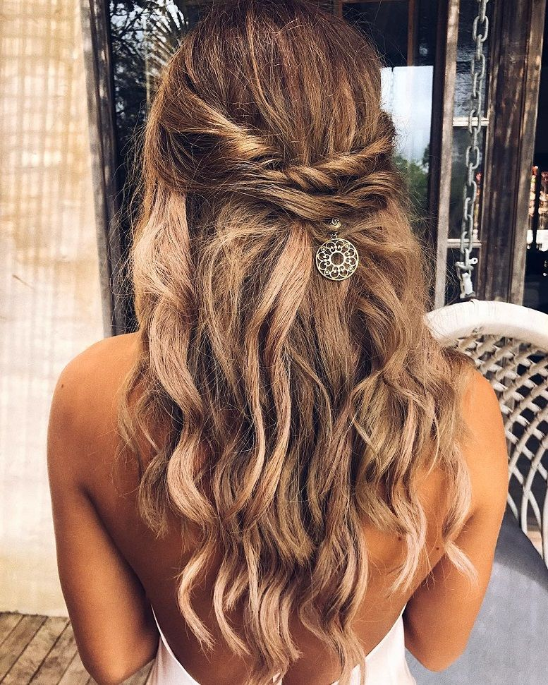 Half up half down boho hairstyle