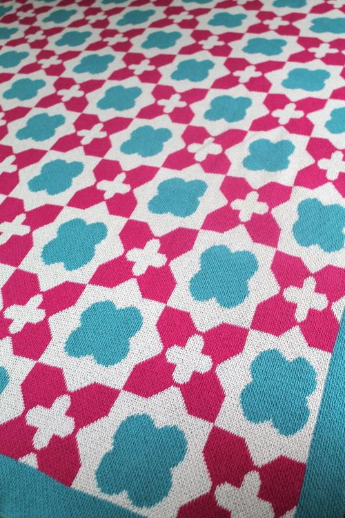 The Lily Blanket in Fuchsia & Cerulean. Perfect for a tween or teenage girl's bedroom!