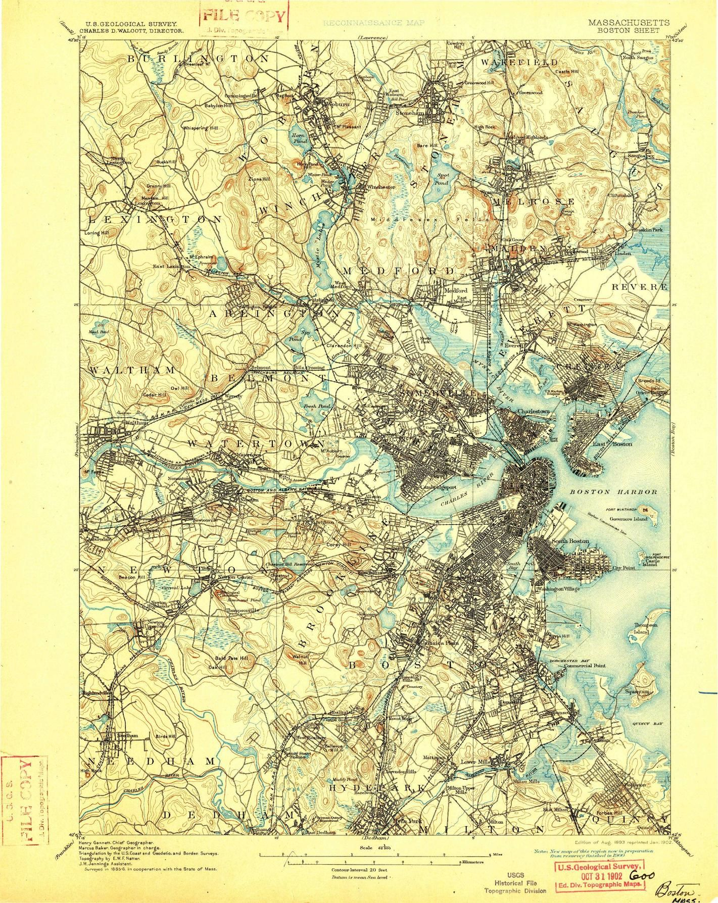 Map of Boston from 1888 (public domain from the USGS) | Maps