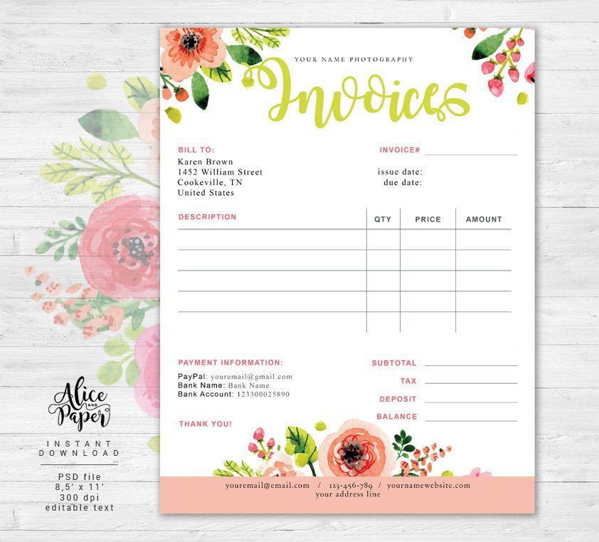 Invoice Template Photography Invoice Business Invoice Photography Forms Receipt Template For Photographers Photoshop Template Psd File Photography Invoice Photography Invoice Template Invoice Template