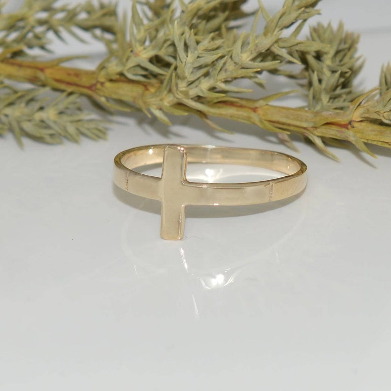 Sideways Cross Ring Religius 10k Cross Ring Minimalist Cross Ring Christian Jewelry Faith Jewelry Traditional Cross Ring Cross Jewelry Cross Rings Christians Faith Jewelry Christian Jewelry