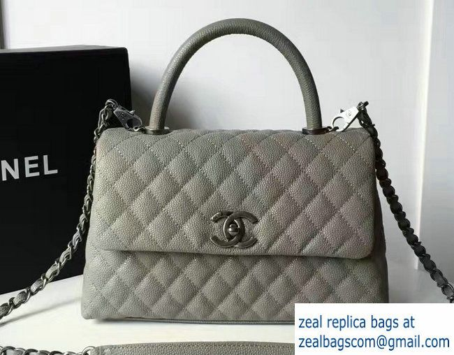 Chanel Coco Top Handle Flap Shoulder Small Bag Grained Calfskin Gray 2017 e39460c486
