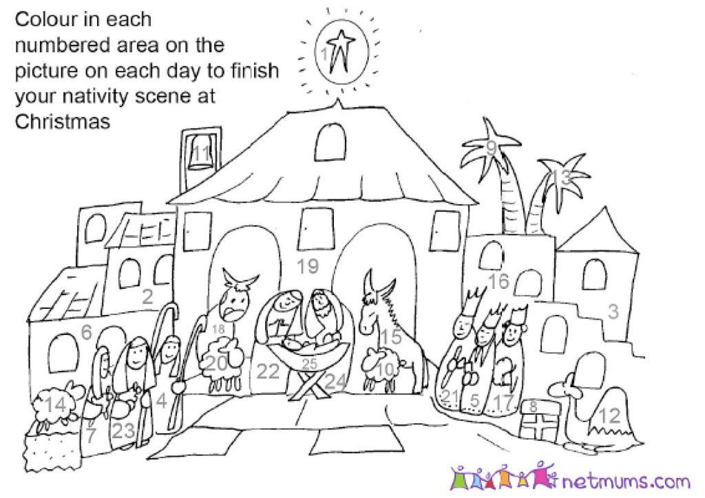 Coloring The Nativity Advent Calendar Homemade Advent Calendars