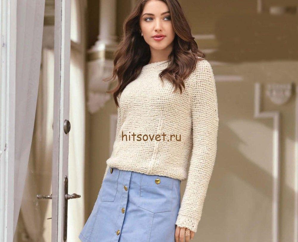 свитер реглан женский спицами схема гладью