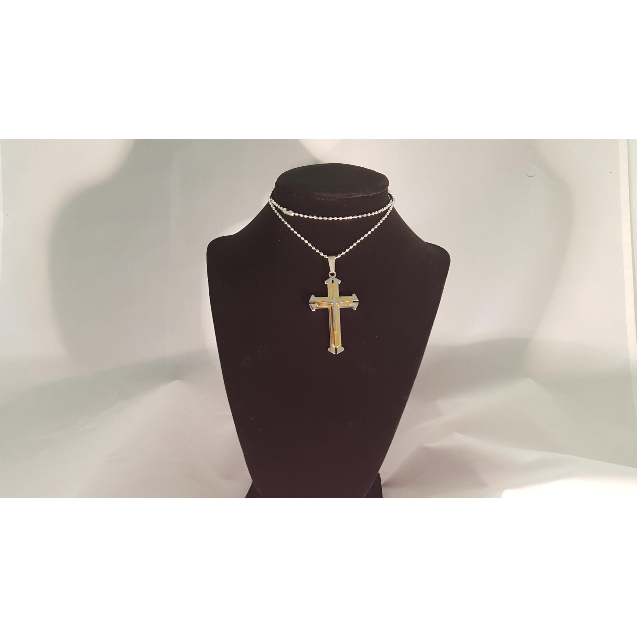 K solid gold fancy textured cross pendant necklace men solid