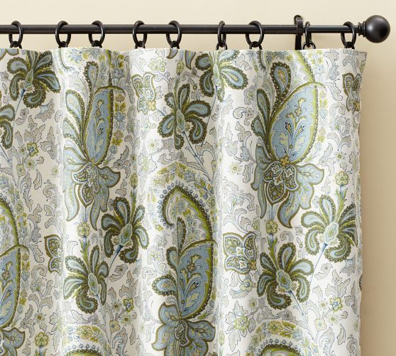 Charlie Paisley Curtain Sage Green Curtains Paisley Curtains