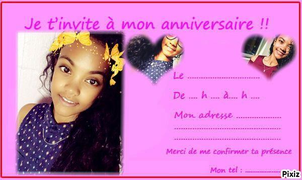 Resultat Du Montage Photo Carte D Invitation Anniversaire Ado
