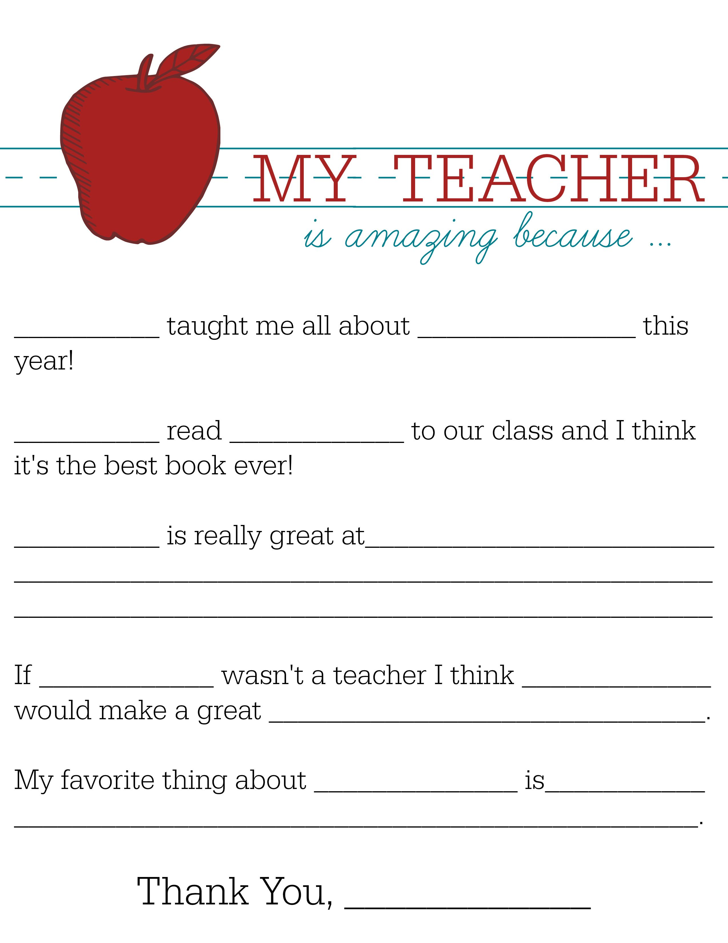 Help Your Child Show Teacher Reciation With This Free Fill In The Blanks Printable Click To
