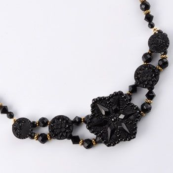 antique button jewelry for evening wear - marchesa five button necklace
