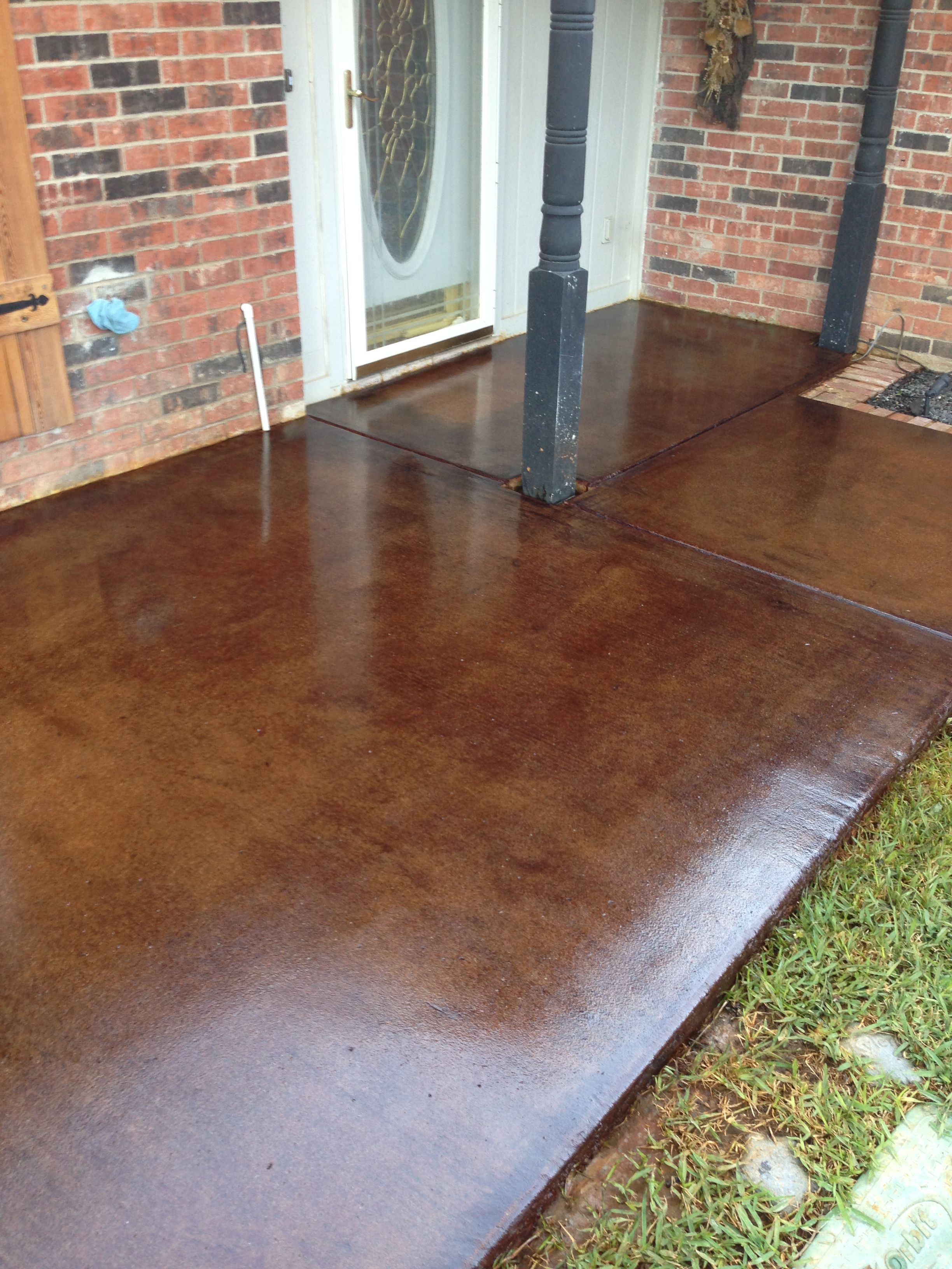 Brickform Mission Brown Acid Stained Patio Concrete Was Ground With A Diamond Grinder To Clean And Remove Stains
