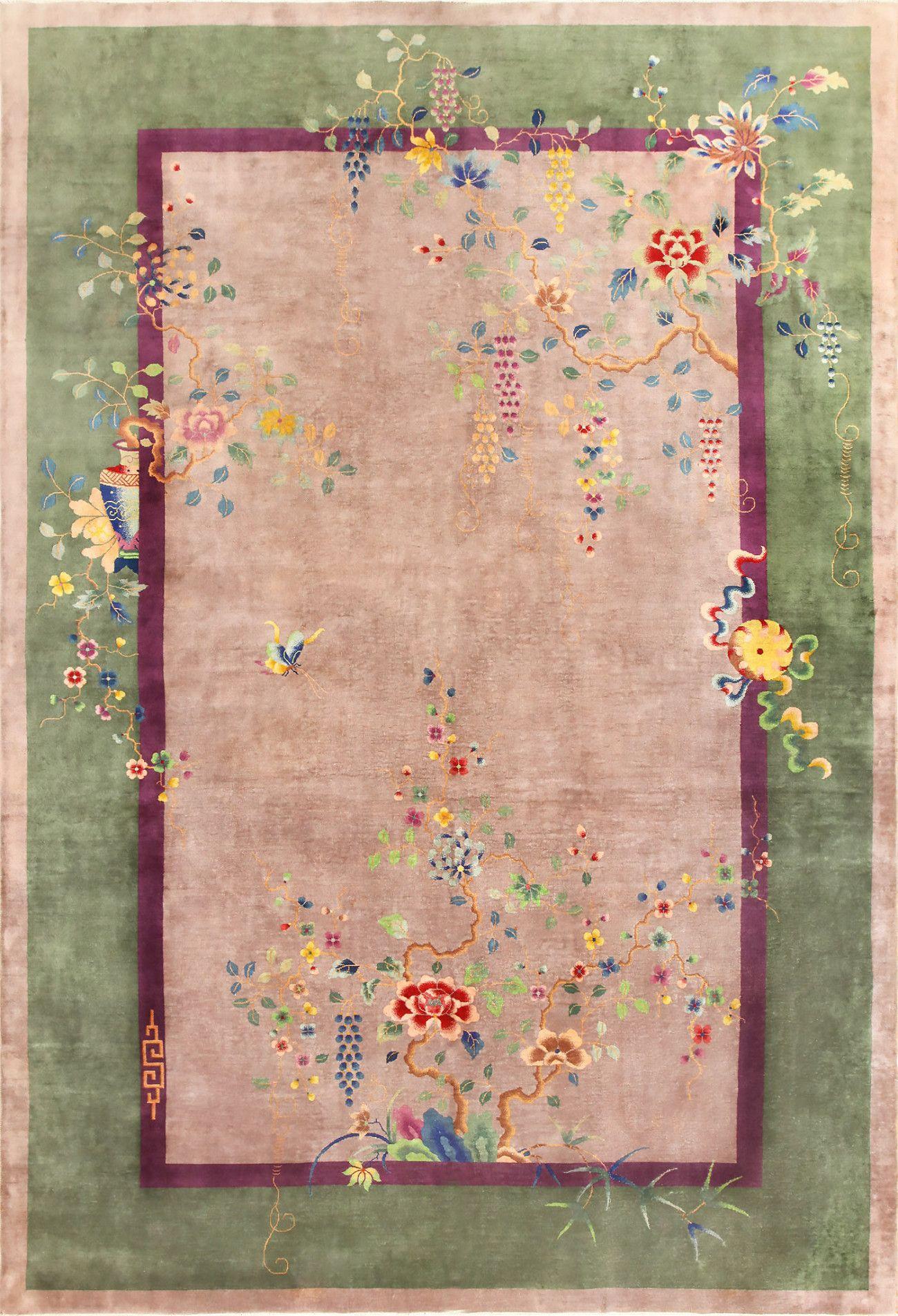 Purple Antique Art Deco Chinese Rug 48769 Pink Art Deco