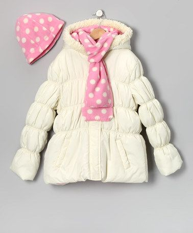08362a83e Take a look at this Cream Polka Dot Puffer Coat Set - Girls by Pink ...