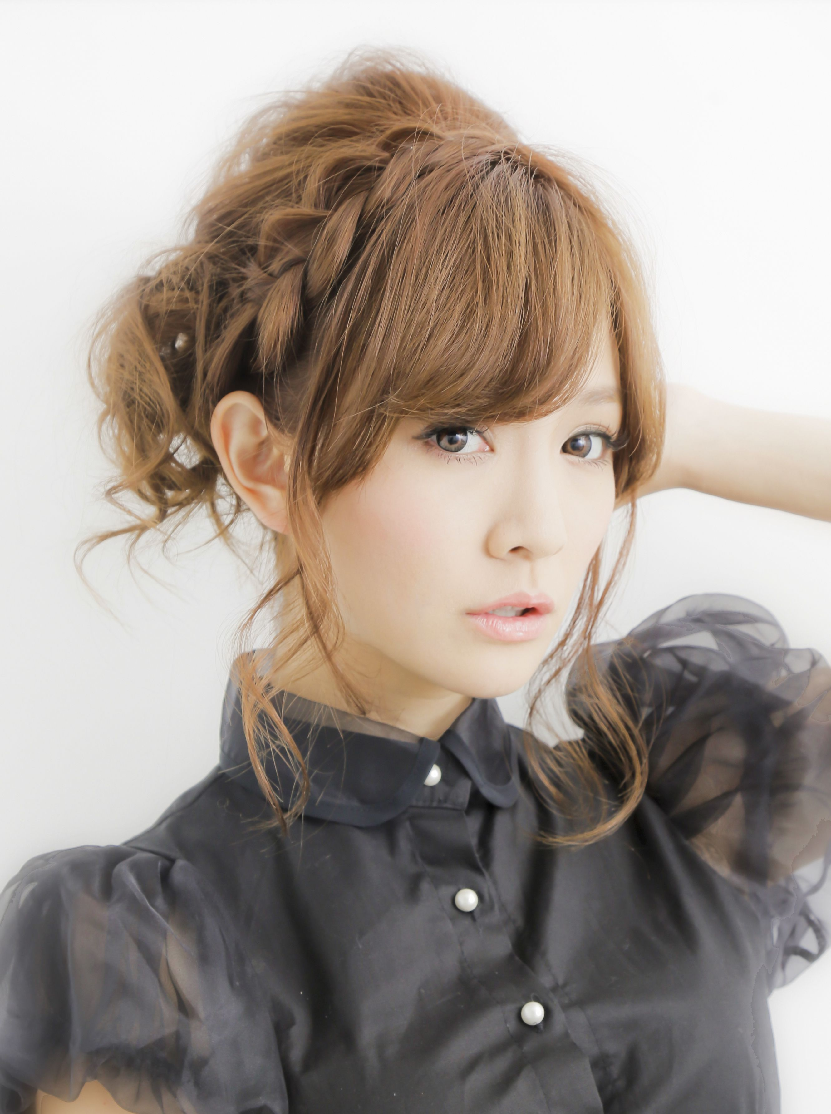 Japanese cute braided hairstyleI think I can do this with my