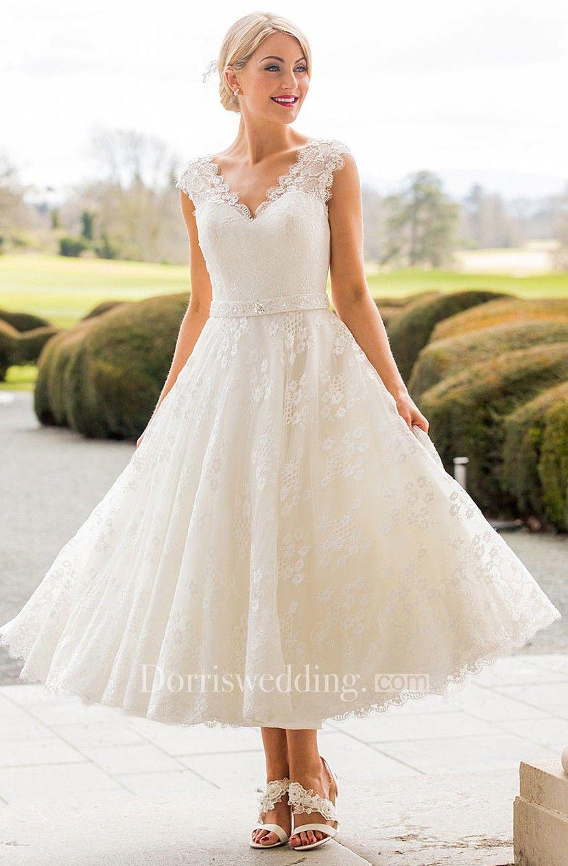 a3e497a090c7 A-Line Tea-Length Appliqued Scalloped Cap Sleeve Lace Wedding Dress - Dorris  Wedding