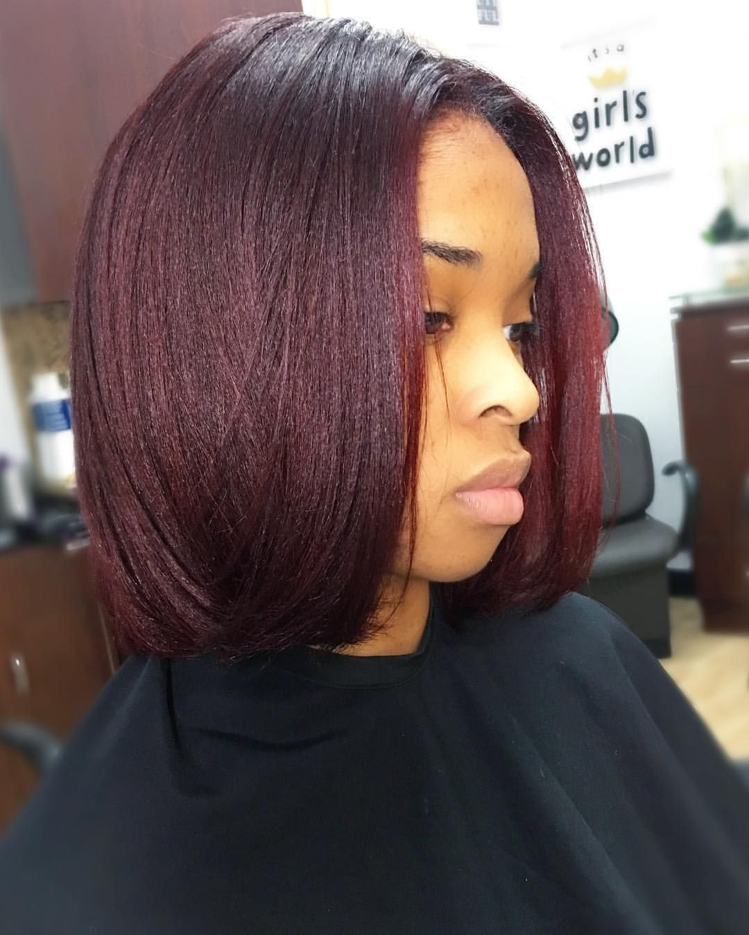 Red Brown Violet Www Styleseat Com Rachel Silk Press Natural Hair Burgundy Hair Pressed Natural Hair