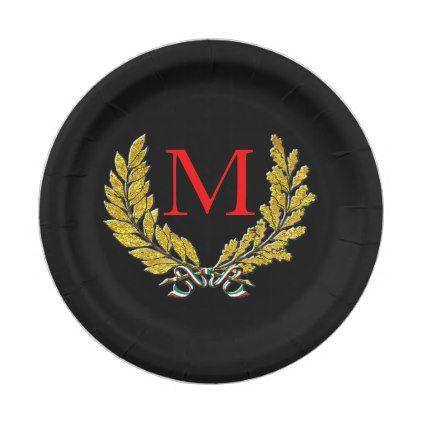 Italian Wreath Gold Tones Your Monogram u0026 Color Paper Plate - home decor design art diy  sc 1 st  Pinterest & Italian Wreath Gold Tones Your Monogram u0026 Color Paper Plate - home ...