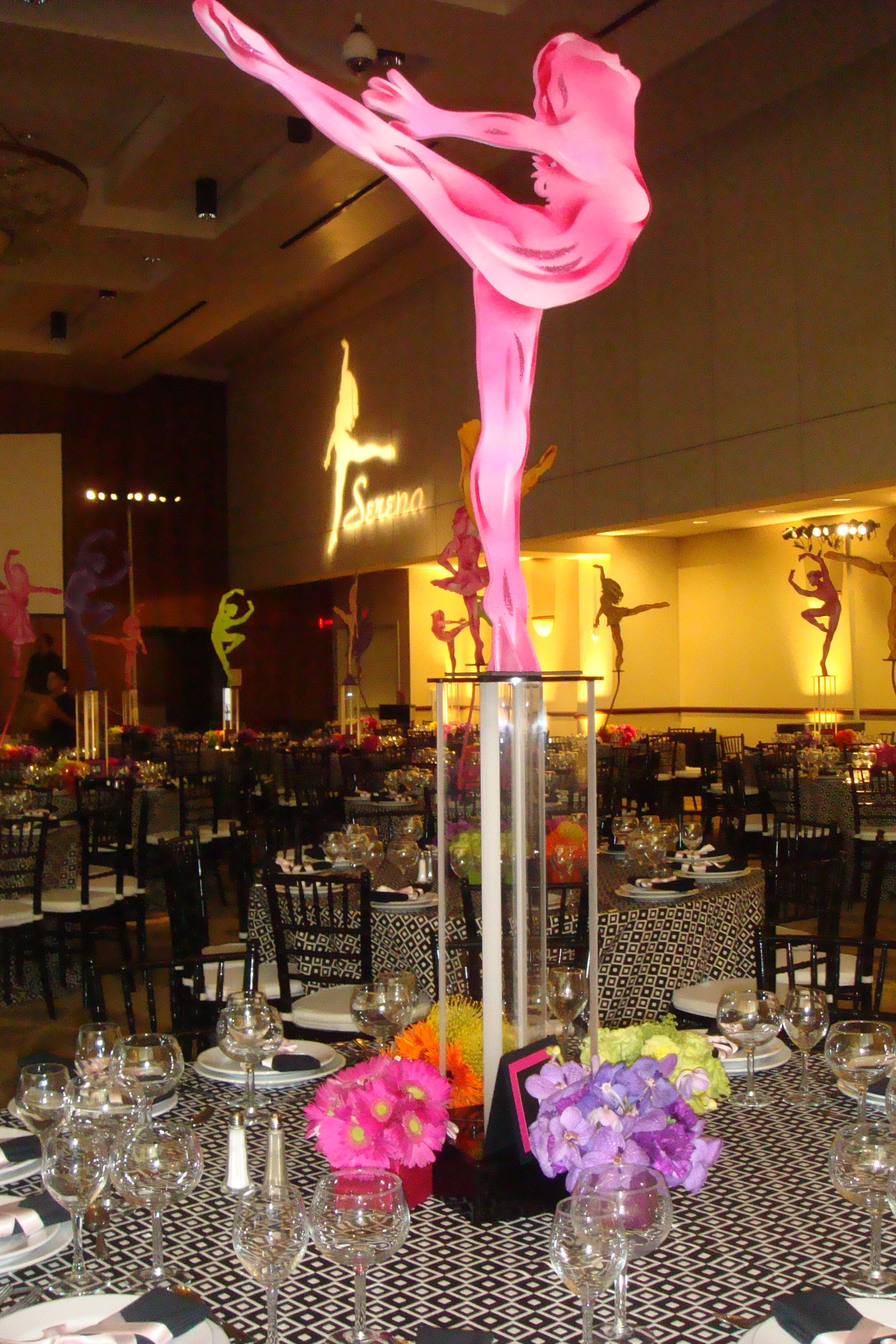 Silhouette of Brittany centerpieces | Brittany Bat Mitzvah ...