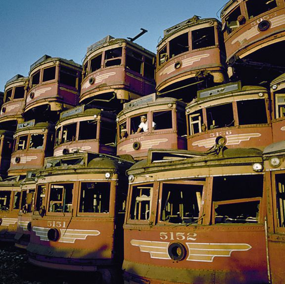 LA's Red Cars Waiting For Demolition In 1951 ©TASCHEN 2009
