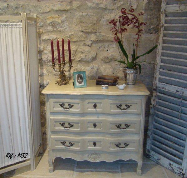 Magnifique commode arbal te de style louis xv en merisier massif patin 2 tons blanc d 39 ivoire - Meuble patine blanc ivoire ...