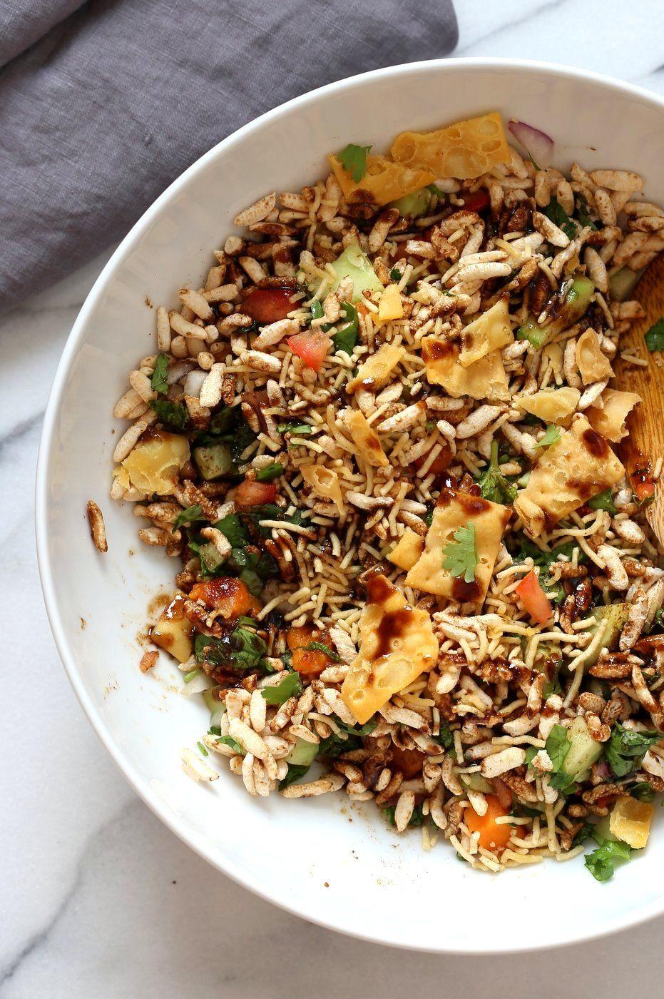 Sweet Potato Bhel Recipe Indian Snack Salad With Puffed Rice Mint And Tamarind Chutney Vegan Richa Recipe Bhel Recipe Recipes Puri Recipes