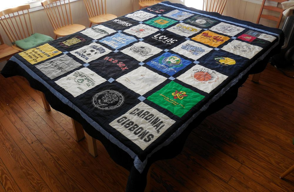 Graduation season is approaching quickly! T-shirt quilts like this Classic  T-Shirt Quilt make wonderful gifts!