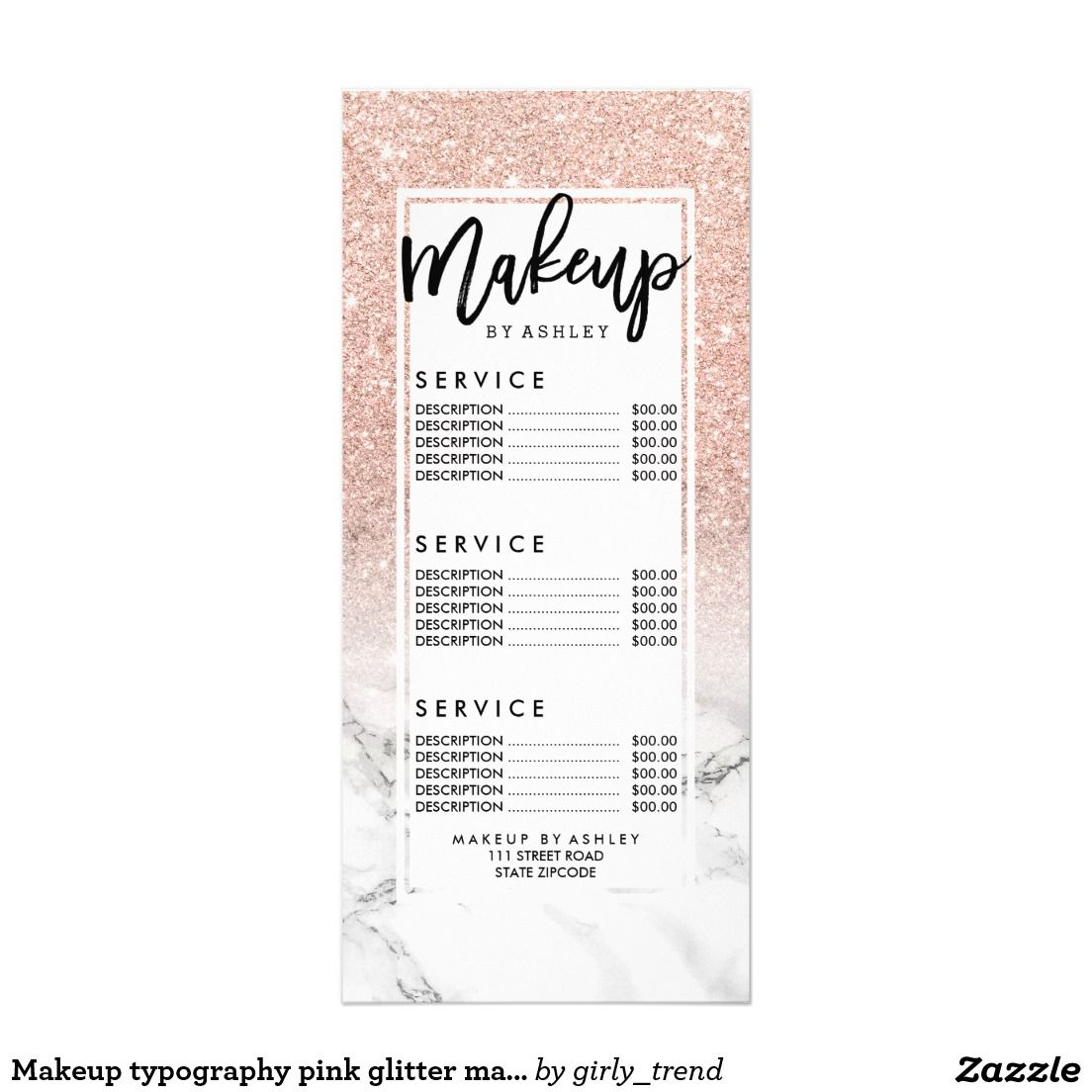 Makeup typography pink glitter marble price list rack card ...