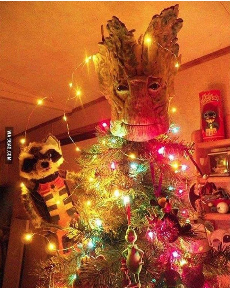 #NerdChristmas done right! #Groot #GuardiansOfTheGalaxy #IAmGroot #ChristmasTree #GrootChristmas #RocketRaccoon #GotG #Marvel