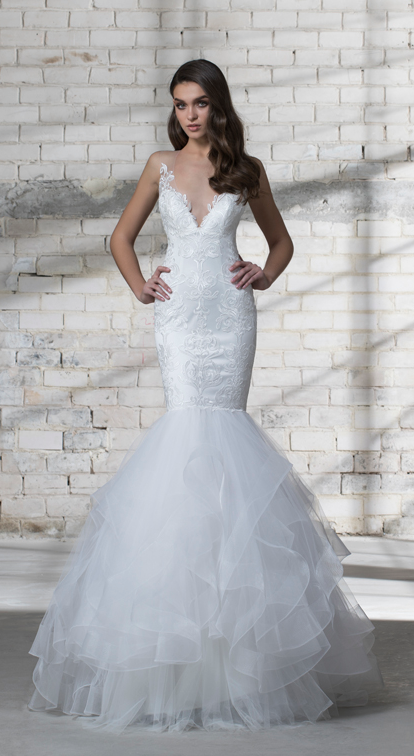 7d08c196210 Illusion lace embroidered mermaid wedding dress with ruffle tulle skirt and  v-neck.