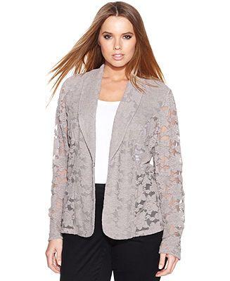 598a1037334 INC International Concepts Plus Size Lace Blazer - Plus Size Jackets    Blazers - Plus Sizes - Macy s