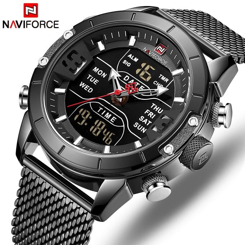 New Men Watch Naviforce Fashion Sports Quartz Watches Stainless Steel Strap Waterproof Dual Display Wristwatch Casual Male Clock In 2020 Watches For Men Luxury Watches For Men Military Watches