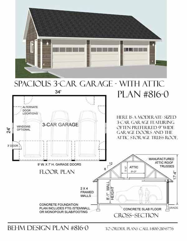 3 Car Attic Basic Garage Plans D No 8160 34 x 24 By Behm Designs – 3 Car Garage Plans With Loft